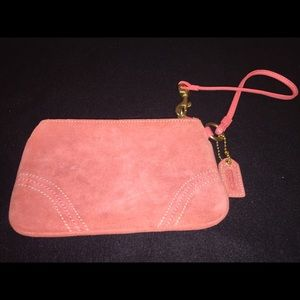 Coach's Pink Genuine Suede Leather Wristlet